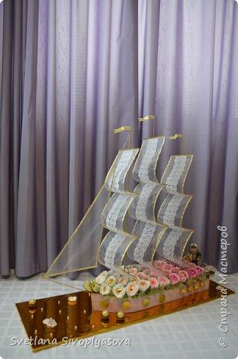 Здравствуйте, дорогие умельцы! Представляю свой первый кораблик! При его создании вдохновлялась работой Ирины Цыбун (http://ytenok.gallery.ru/watch?a=bc8B-iJo5) Огромное ей спасибо за подробный мастер-класс! Нашла этот корабль в интернете пару лет назад и просто в него влюбилась! Такая замечательная форма и цвета отлично подобраны! Поэтому в своей работе даже на стала изобретать велосипед, а просто добавила несколько штрихов от себя! Корабль подготовлен к юбилею коллеги! Получился довольно большой: 1м*1м! Работа оказалась очень трудоёмкая, поэтому к ней были подключены все члены семьи! За что им отдельное СПАСИБО!!! фото 6