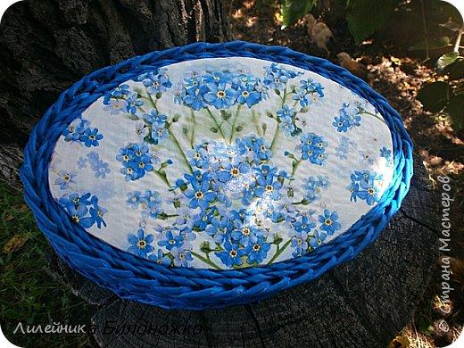 """Доброй ночи, жители Страны! Две недели назад мне улыбнулась Удача, я купила красивую голубую салфетку, назвала ее """"незабудки"""". Давно у меня не было такого вдохновения. Сухарницу сплела на одном дыхании. фото 5"""