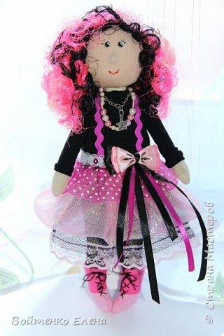 Захотелось сделать что то не обычное, созрел вот такой образ куколки, ее рост 29 см, волосики из распущеной атласной ленты фото 1