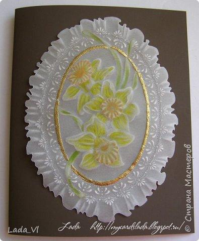 Открытка  Пергамано (Pergamano, Parchment Craft) –  Нарциссы фото 1