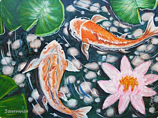 Привет, привет, я опять со своими новыми картинами. Захотелось изобразить рыбок. Размер 30 на 40 см. фото 1