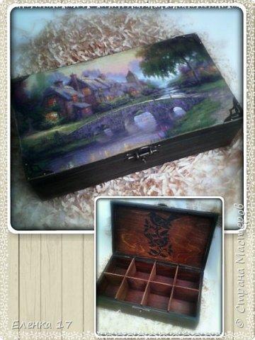 Большая шкатулка,для чайных пакетиков,внутри обработанна воском фото 1