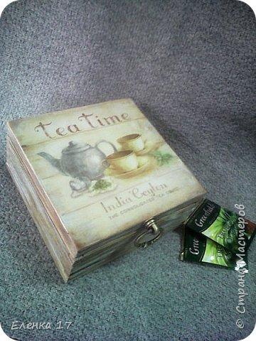 Большая шкатулка,для чайных пакетиков,внутри обработанна воском фото 5