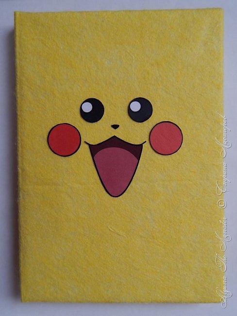 Приветствую всех жителей Страны Мастеров! Представляю Вашему вниманию блокнот с покемоном Пикачу, сделанный своими руками. Внутри блокнота разноцветные страницы, а обложка сделана из фетра. фото 2