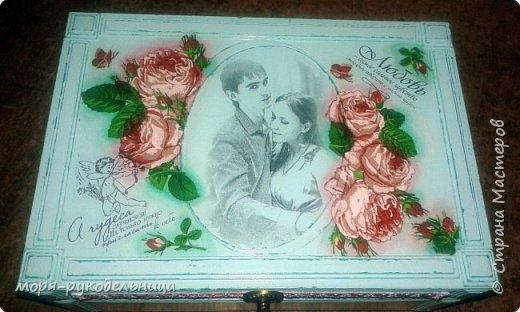 Это мой маленький подарочек дочке в честь бракосочетания. Она захотела шкатулку для разных ювелирных (и не только) безделушек, да еще в стиле Прованс... Я старалась... И вот, что получилось. Персональная шкатулка с фото молодых... фото 8