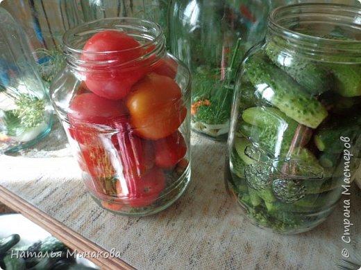 Хочу поделиться с жителями СМ рецептом заготовки овощей. По этому рецепту делаю маринады уже почти 30 лет. Можно консервировать отдельно огурцы, помидоры, а можно и овощное ассорти (помидоры+огурцы, помидоры+огурцы+арбузы,  помидоры+огурцы+арбузы+капуста). фото 12