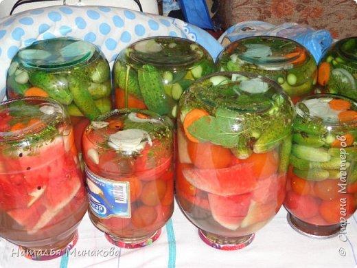 Хочу поделиться с жителями СМ рецептом заготовки овощей. По этому рецепту делаю маринады уже почти 30 лет. Можно консервировать отдельно огурцы, помидоры, а можно и овощное ассорти (помидоры+огурцы, помидоры+огурцы+арбузы,  помидоры+огурцы+арбузы+капуста). фото 20