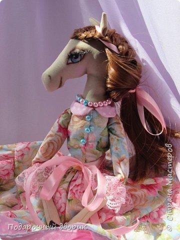 Текстильная лошадка-Изабель. Очень нежная девочка.Ростом 50 см. фото 5