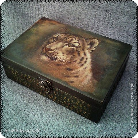 Вот такая,шкатулка с тигром,у моего мужа на первом месте,на боковушка имитация резьбы фото 1