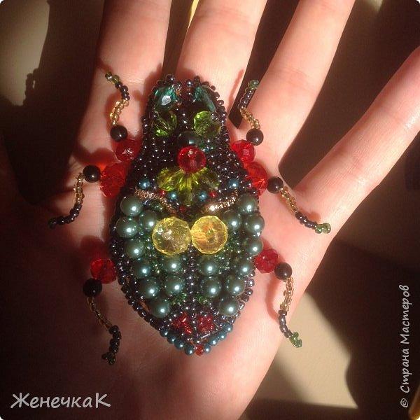 Фантазийный жук-брошь для гламурной красавицы.))))) фото 4
