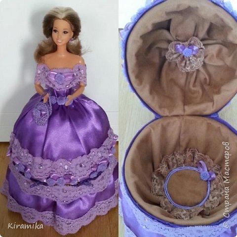 Эта куколка сделана на свадьбу в сиренево-коричневых тонах) фото 2