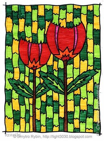 Красные цветы. Картина фломастером. фото 1