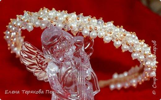 "ТИАРА ""АФРОДИТА"" ширина 1.5 см (бархат, бусины 3 вида, бисер) сделана под заказ на свадьбу фото 5"