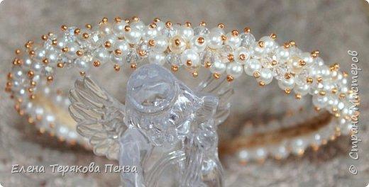 "ТИАРА ""АФРОДИТА"" ширина 1.5 см (бархат, бусины 3 вида, бисер) сделана под заказ на свадьбу фото 3"