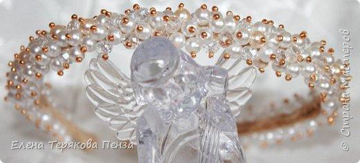 "ТИАРА ""АФРОДИТА"" ширина 1.5 см (бархат, бусины 3 вида, бисер) сделана под заказ на свадьбу фото 2"