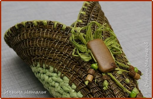 Подвесное кашпо для сухоцветов из талаша и сосновой иглы фото 1