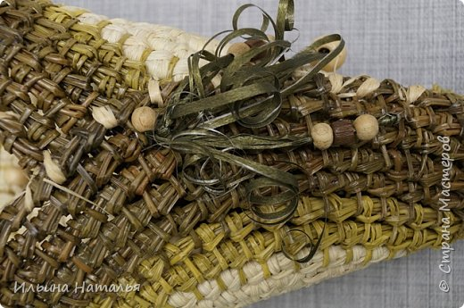 Подвесное кашпо для сухоцветов из талаша и сосновой иглы фото 5