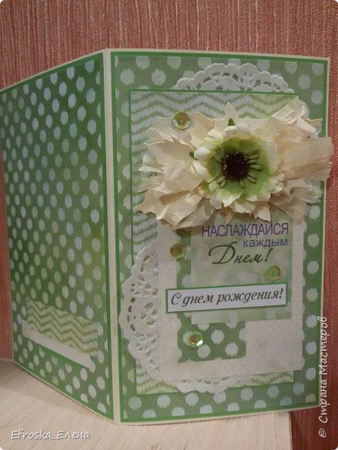 Родилась у меня сегодня открытка. Очень хотелось именно зеленую, но как сложно, оказывается, подобрать подходящие оттенки зеленого.))) фото 2