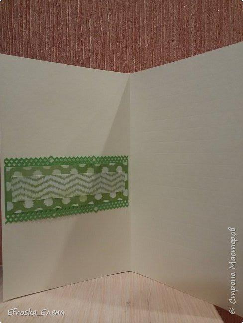 Родилась у меня сегодня открытка. Очень хотелось именно зеленую, но как сложно, оказывается, подобрать подходящие оттенки зеленого.))) фото 4