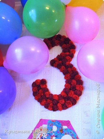 С добрым временем суток, дорогие мастера и мастерицы))) На днях нашей младшей принцессе исполнилось три годика. Увидела в интернете идею вот такой цифры и решила сделать, а как получилось - судить Вам!   фото 1
