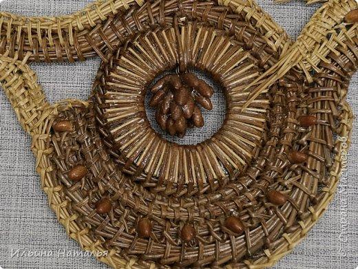 Колье сплетено безниточным способом. Декор - молодые шишки сосны, соломка. ширина 17 см., высота 10 см. фото 3