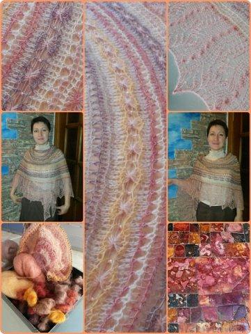 """Шаль Это шаль дизайнера Tetiana Otruta """"Halyard"""", в моем исполнении шаль - трансформер """" Яшма""""  При создании коллажа использована фотография с сайта http://color-harmony.livejournal.com/103198.html  фото 1"""