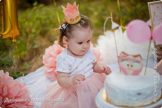 На первый День рождения моей внучки Ксюши мы устроили вечеринку в формате «Cake Smash» (англ. — «крушение торта»). Идеи по проведению вечеринки принадлежат Ксюшиной маме — Асе (моей старшей дочери). Смысл этой вечеринки в том, что первый в жизни ребёнка торт даётся  именно малышу, а не гостям. И именинник сам решает, что с ним делать. фото 1
