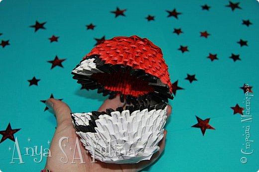 Здравствуйте) Сейчас я вам расскажу и покажу, как делать этот покебол техникой модульное оригами. Чтобы посмотреть урок, спуститесь чуть ниже по странице:) фото 3