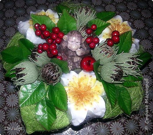 Мои мыльные букеты с лилиями нравятся! http://stranamasterov.ru/node/964611  Попросили меня сделать подобный и желательно с обезьянкой, так как именинник рождён в год Обезьяны. фото 8