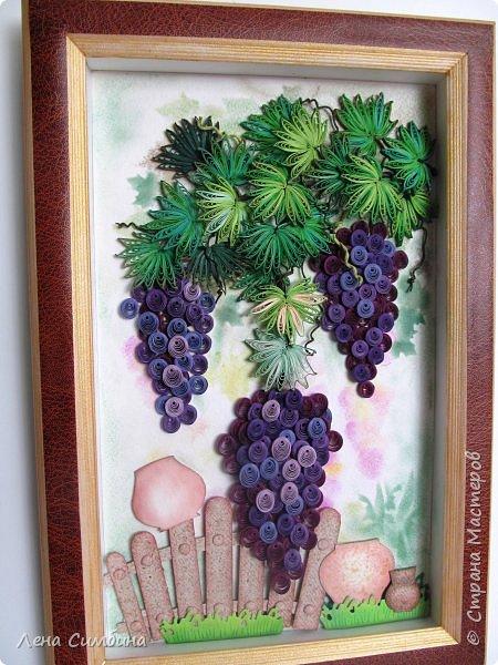 Здравствуйте. Всегда любовалась квиллинговыми виноградными панно. Вот, решила тоже попробовать сделать. фото 1