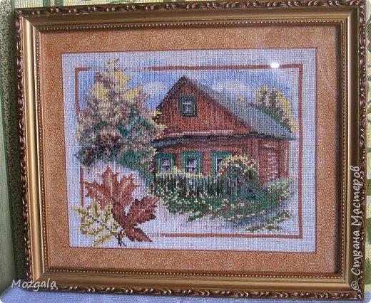 """Здравствуйте! Это мои  первые работы после тридцатилетнего перерыва. """"осень в деревне"""" навевает воспоминания о моей маленькой родине- хуторе, где я родилась.Маленькие домики  утопающие в зелени садов. фото 1"""