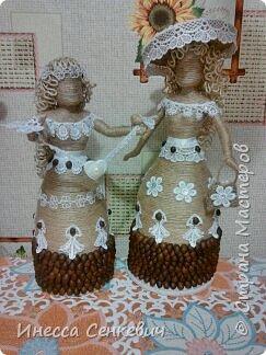Мои две последние работы - шпагатные куклы. Вдохновитель - Елена Игнатьева http://stranamasterov.ru/node/743359. Только я своих дамочек сделала просто стационарными, без шкатулок. фото 1