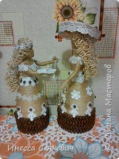 Мои две последние работы - шпагатные куклы. Вдохновитель - Елена Игнатьева http://stranamasterov.ru/node/743359. Только я своих дамочек сделала просто стационарными, без шкатулок. фото 17