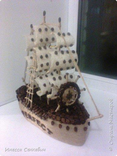 Сделались у меня несколько парусников. Этот последний, с новой формой лодки. До этого лодка была больше похожа на утюжок)  Вдохновитель -кофейных дел мастер anna80 http://stranamasterov.ru/node/429879 Спасибо, Анечка! фото 2