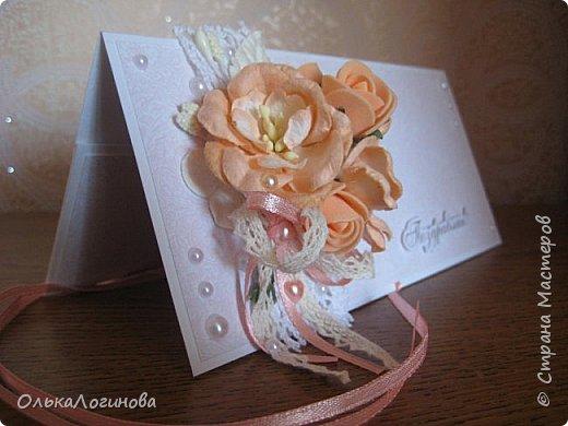"""Доброго дня,Страна!!!А вот и новенькое))конвертик для денежки(подарок на свадьбу).Основа-акварельная бумага,бумага для скрапбукинга от Fleur Design коллекция """"Романтика"""",лист """"Тиснение Роза""""(очень нежные цвета,именно свадебная бумага),цветочки-магнолии,розочки из фоамирана,листочки,кружево 2-ух видов,крудевная и атласная ленточки на бантике,полубусины-сердечки и жемчужинки,надпись нашлась в запасах хомяка))Заказчице понравилось)) фото 2"""
