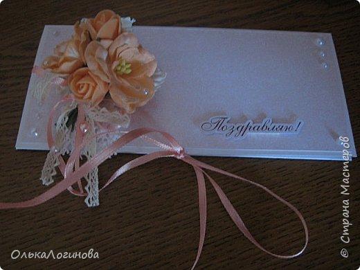 """Доброго дня,Страна!!!А вот и новенькое))конвертик для денежки(подарок на свадьбу).Основа-акварельная бумага,бумага для скрапбукинга от Fleur Design коллекция """"Романтика"""",лист """"Тиснение Роза""""(очень нежные цвета,именно свадебная бумага),цветочки-магнолии,розочки из фоамирана,листочки,кружево 2-ух видов,крудевная и атласная ленточки на бантике,полубусины-сердечки и жемчужинки,надпись нашлась в запасах хомяка))Заказчице понравилось)) фото 3"""