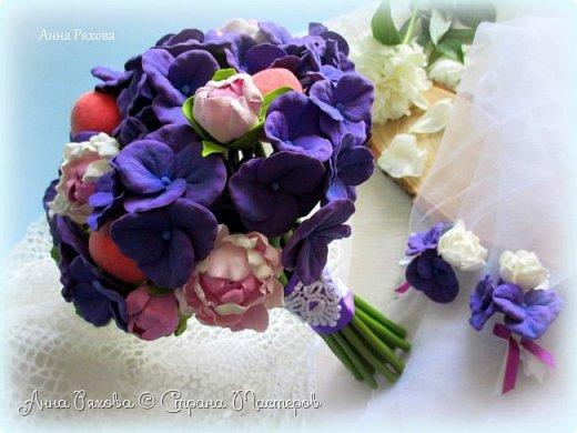 """Букет невесты """"Фиона"""" из полимерной глины фото 2"""