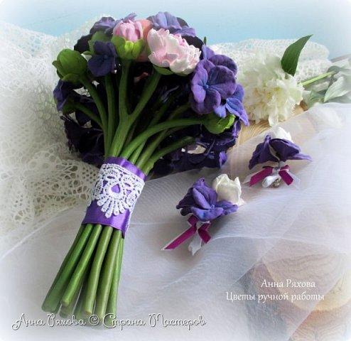 """Букет невесты """"Фиона"""" из полимерной глины фото 4"""