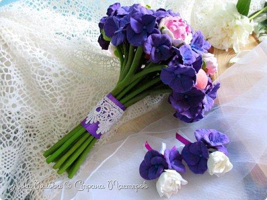 """Букет невесты """"Фиона"""" из полимерной глины фото 6"""