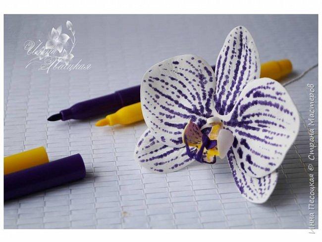 Идея!!! Рисуем пятнышки на лепестках орхидеи Данный мини мастер-класс показывает способ нанесения пятнышек на лепестки цветов из фоамирана при помощи маркеров по ткани, а не сборке цветка орхидеи фаленопсис. Пятнышки на лепестках, нанесенные данным способом  (в соответствии с прилагаемой к маркерам инструкцией), не размазываются и не смываются после сборки цветка. Для работы нам понадобится: - заготовки лепестков из фоамирана белого цвета; - маркеры по ткани (ТОЛЬКО НЕ ПРОСТЫЕ ФЛОМАСТЕРЫ!!!); - утюг; - молд лепестка орхидеи; - масляная пастель (можно использовать любой, удобный для Вас краситель). - клей для сборки. фото 1