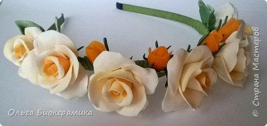 Ободок с розами из запекаемой полимерной глины. фото 2