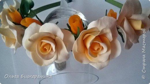 Ободок с розами из запекаемой полимерной глины. фото 3
