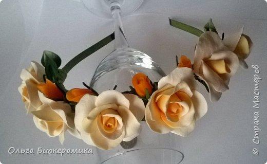 Ободок с розами из запекаемой полимерной глины. фото 1