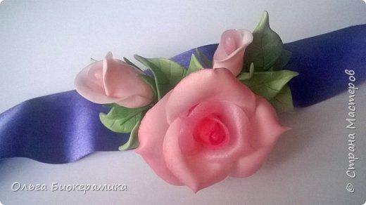 Ободок с розами из запекаемой полимерной глины. фото 7