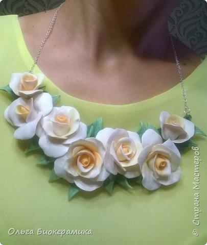 Ободок с розами из запекаемой полимерной глины. фото 5