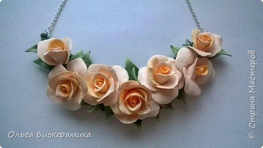 Ободок с розами из запекаемой полимерной глины. фото 4
