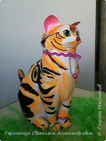 Эту кошечку Соню. и схему к ней  я увидела в интернете   и решила сделать   ее для себя.Чтобы она выглядела нарядно ,украсила  ее. фото 1