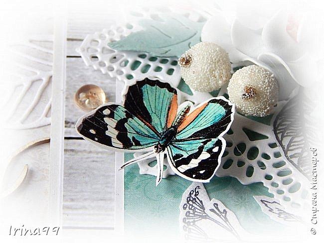 """Всем,всем  огромный приветик! На улице август..лето..хоть и последний месяц его...поэтому у меня бабочки и цветочки.Как вам сочетание цвета? Не очень привычно...и для меня тоже.Но я просто влюбилась в этих бабочек и уже всю открыточку """" подстроила"""" под них! Как в том анекдоте про нас  женщин- купим помаду, а потом уже под неё нужны и сумочка, и  сапожки, и шубка! Размер тоже новый для меня 12 х16.  фото 5"""