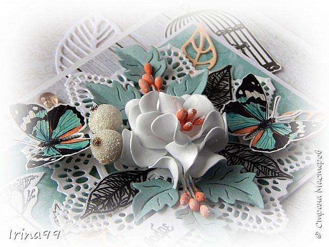 """Всем,всем  огромный приветик! На улице август..лето..хоть и последний месяц его...поэтому у меня бабочки и цветочки.Как вам сочетание цвета? Не очень привычно...и для меня тоже.Но я просто влюбилась в этих бабочек и уже всю открыточку """" подстроила"""" под них! Как в том анекдоте про нас  женщин- купим помаду, а потом уже под неё нужны и сумочка, и  сапожки, и шубка! Размер тоже новый для меня 12 х16.  фото 3"""