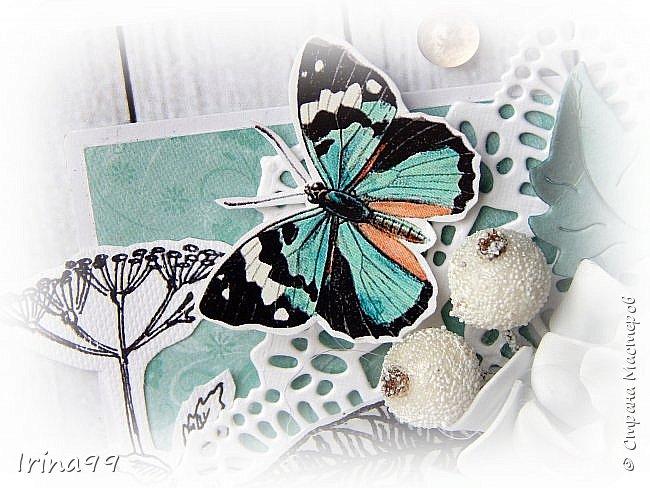 """Всем,всем  огромный приветик! На улице август..лето..хоть и последний месяц его...поэтому у меня бабочки и цветочки.Как вам сочетание цвета? Не очень привычно...и для меня тоже.Но я просто влюбилась в этих бабочек и уже всю открыточку """" подстроила"""" под них! Как в том анекдоте про нас  женщин- купим помаду, а потом уже под неё нужны и сумочка, и  сапожки, и шубка! Размер тоже новый для меня 12 х16.  фото 2"""